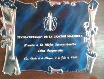 Trofeo conseguido en el Concurso Nacional de Corales 2015 en San Vicente de la Barquera